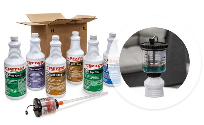 Bottles of chemicals with FastPak dilution control equipment