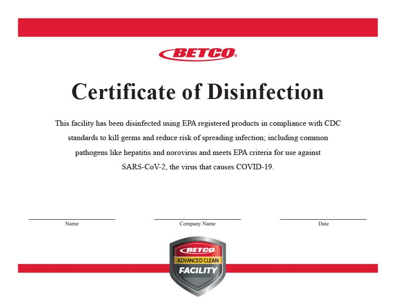 Smart Tools Certificate of Disinfection