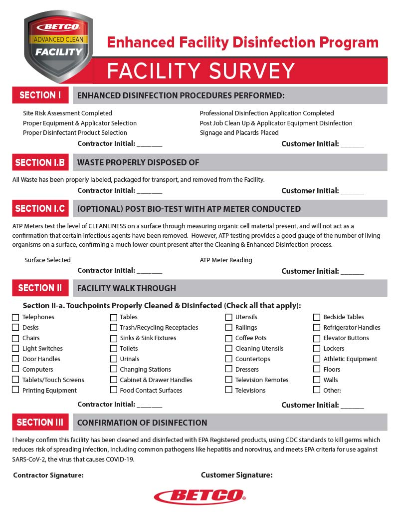 Smart Tools Enhanced Facility Disinfection Survey